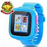 Juego Niños Smart Watch para Niños Chicas Chico con Cámara 1.5 '' Touch 10 Juegos Pedómetro Timer Despertador Toy Smartwatch Reloj de Salud Monitor de Salud (Azul)