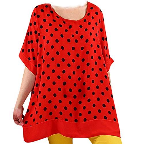 Ein Für Nerd Kostüm Essentials - TOPSELD T Shirt Damen, Arbeiten Sie BeiläUfigen Punkt Drucken Kurze HüLsen, O-Ansatz Lose Leichte Bluse