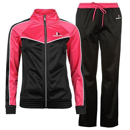 Donnay Damen Poly Trainingsanzug Blk/wht/hotpink UK (M) 12