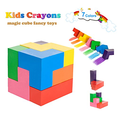 Wachsmalstifte Kinder, 7 Farben Wachsmalstifte für Babys, Kreative Magic Cube Förmigen Wachs Wachsmalstifte Intelligenz Spielzeug für Kleinkinder, Kinder, Jungen, Mädchen, Erwachsene, waschbar und nicht giftig