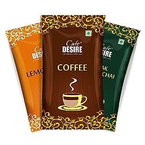 Cafe Desire Instant Coffee Premix, Tea Premix, Lemon Premix, Combo Pack - 30 Sachets (600g)