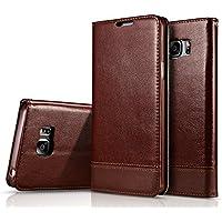 Nuovo Samsung nota 5 copertura, AIYIBEN portafoglio custodia in pelle PU copertura di pelle sintetica tipo portafoglio per Samsung nota 5(Brown)