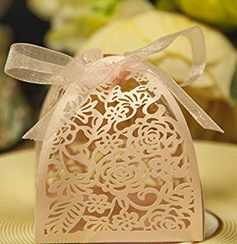 DIKETE® 50pcs Wedding Hollow Butterfly Boxes Wedding Party Birthday Favor Candy Gifts Sweets Box Bomboniere With Ribbon