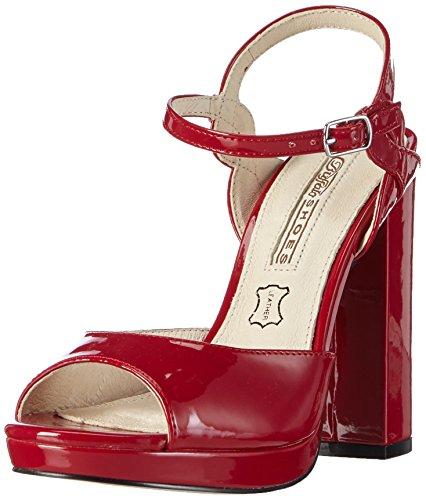 Buffalo London - 315-4677 Patent Pu, Sandali con platea Donna Rosso (Rosso (rosso))