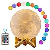 Mondlicht 3D Print Mondkugel Lampe, 3D Glowing Moon Lampe Mit Ständer, Luna Mondlampe Nachtlicht Für Zuhause Schlafzimmer Dekor Kinder, Dia-8Cm