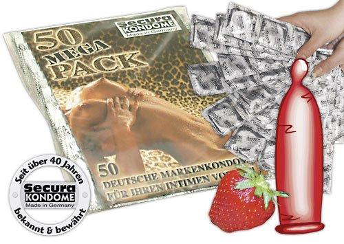 Secura Red Sin, Color-Kondome mit Aroma und Erdbeergeschmack, 50 Stück