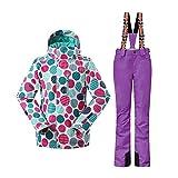 Wonny 2 Teilig Skianzug Wasserdicht Schneeanzug Jacke und Hosen Unisex Skiset Lila XS