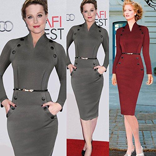Adolpha Damen Kleid Hepburn Retro Langarm Polyester Frühling Sommer (grau, rot) Red
