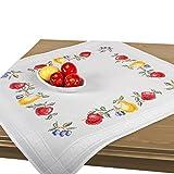 Stickpackung SOMMERFRÜCHTE, komplettes vorgezeichnetes Kreuzstich Tischdecken Set zum Sticken, Stickset mit Stickvorlage