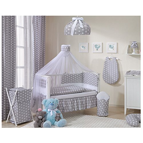 Sevira Kids–Juego de 2cortinas (100% algodón para habitación infantil–lunares Chic gris gris Talla:2x 248x106 cm
