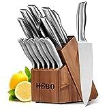 HOBOナイフブロック、ウッドブロック付き14キッチンナイフセット、ナイフセット、シェフ用ナイフセット用セルフシャープ、ステンレススチール、完全ナイフセット
