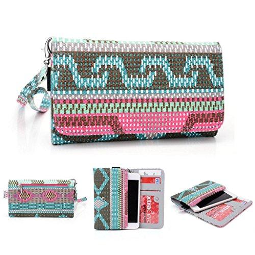 Kroo Pochette universel Femme Portefeuille Portable Pochette pour Alcatel POP D5/D3/C2/C3/S3/Fire E/OneTouch Idol Mini/997D Double SIM rose vert