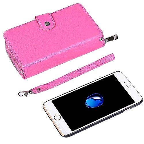 iPhone Case Cover Pour iPhone 7 Séparable Litchi Texture Zipper Boîtier en cuir horizontal Flip avec des fentes pour cartes et porte-monnaie et cadre photo & Lanyard ( Color : Blue ) Magenta
