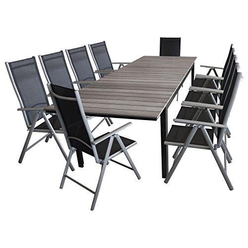 Multistore 2002 11tlg. Gartengarnitur Terrassenmöbel Gartenmöbel Set Sitzgruppe - Gartentisch, Polywood-Tischplatte grau, ausziehbar, 200/250/300x95cm + 10x Hochlehner, klappbar, 7-fach verstellbar