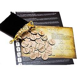 Set de Runas de Madera con pergamino con significado