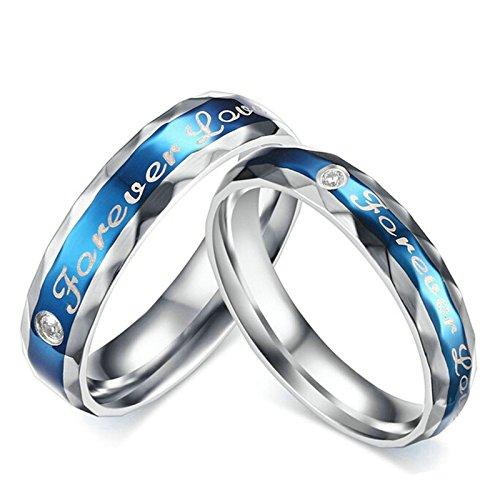 Aooaz amore eterno anelli incisione gratuita per le donna uomo anelli donna fascia donna anelli 2pcs donna 15 & uomo 20 con portagioie anelli fidanzamento