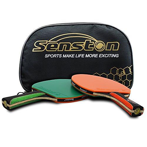 Senston ITTF Tisch Tennisschläger Schläger-Set, Pingpong Paddel mit 2Schlägern (, die Hände schütteln Griff), Orange&Green