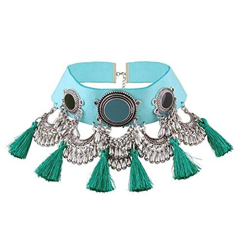 Caiyan PU flannel vintage inlaid gem tassel necklace, blue -