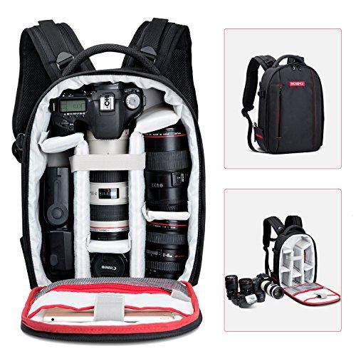 Mochila para Cámara Profesional Beschoi Mochila Bolsa Cámara Fotos para Canon Nikon Sony Pentax Portátil Trípode Accesorios, Talla S