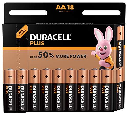 Duracell Plus, lot de 18 piles alcalines Type AA 1,5 Volts LR6 MX1500