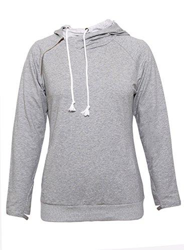 Y-BOA Sweat-Shirt Femme Sport Casual Capuche hoodies Hiver Jumper Gris