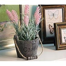 URAQT Florero de Madera + Artificial Flores de Lavanda, Barril de la Vendimia Diseño Florero Planta Plantador, Decoración Iniciar / Interior / Exterior / de la Boda / Jardín , Color de Rosa