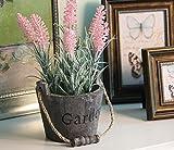 URAQT Künstliche Blumen Lavendel im Blumentopf Holz , Kunstblume / Kunstpflanze, für Wohnaccessoires & Deko