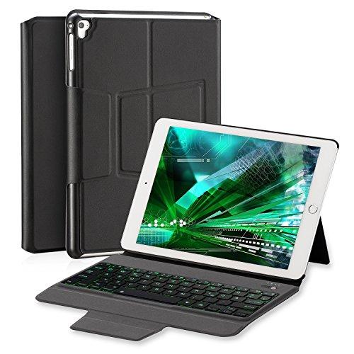 Tobeape Drahtloser Tastatur Hülle für iPad 9.7 Zoll 2018/2017/iPad Air 2/iPad Air, Ultradünn Aluminium-Portfolio 7 Farben hinterleuchtet magnetisch Keyboard Case mit automatischer Aufwachen/Schlaf (Stilvolle Tastatur Drahtlose)