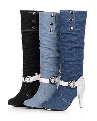 YE Damen High Heels Stiletto Plateau Denim Kniehohe Stiefel mit Schnalle Glitzer Strass 9cm Absatz Fashion Elegant Herbst Winter Schuhe Schwarz