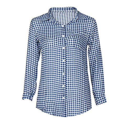 1fa2cc4dfde2 BHYDRY Damen T-Shirt, Sommer Tops Bluse Casual Lose Oberteil - Rot Plaid  Drucken Lange Bluse Feminine Shirt Lässige Bluse Frauen Tops (EU-44 CN-XL,Blau)