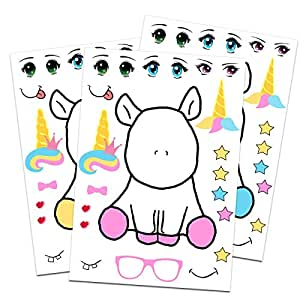 24 Make A Unicorn Stickers for Kids - Rainbow Unicorn Theme Birthday Party Favors - Let Your Girls or Boys Get Creative & Design Their Favorite Unicorn Stickers - Fun Craft Project for Children 3+