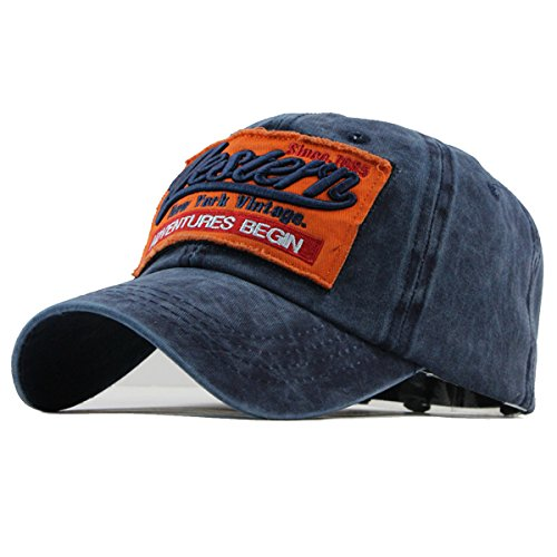 Navy Vintage Cap (Sporty Trucker Baseballcap Western New York Cotton Distressed Snapback Vintage Cap (Navy))