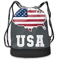 wwoman Mens Women Drawstring Bag Theft Proof Lightweight Beam Backpack, Swim Cinch Sackpack - American Flag Patriotic USA Map Grey Waterproof Backpack Soccer Basketball Bag