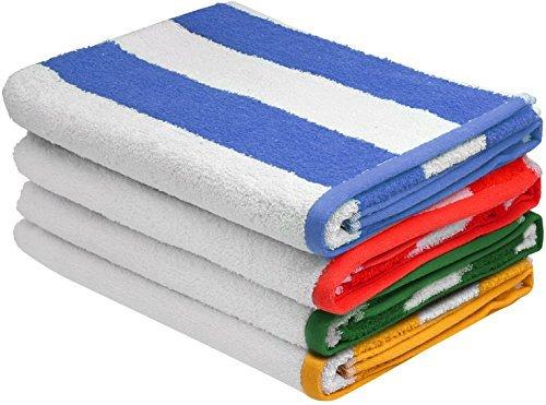 Großes Badetuch Pool-Handtuch in Cabana Streifen, 4-Pack, 100% Baumwolle, pflegeleicht, maximale Weichheit und Saugfähigkeit (30