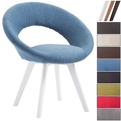 Clp sedia visitatore beck con schienale - sedia pranzo in tessuto i poltroncina imbottita con telaio in legno i sedia design moderno blu colore base: bianco