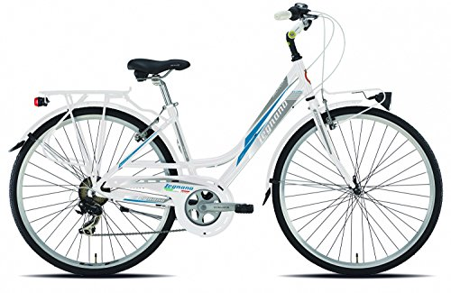 28 Zoll Legnano Smeralda Damen Trekking Fahrrad Aluminium 7-Gang, Farbe:weiß-blau, Rahmengröße:48cm