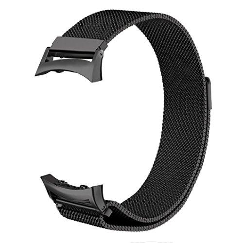 ZGS Cinturino Cinturini Samsung Gear Fit 2 / Gear Fit 2 PRO, Cinturino Milanaise, Acciaio Inossidabile, Cinturino a Rete con Samsung Gear Fit 2 SM-R360 / Gear Fit 2 PRO Smartwatch Tracker(Nero)