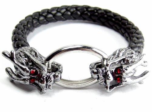 Drachen Armband Lederarmband mit Geflochtenen Lederband Drachen Köpfe Gothik Drache