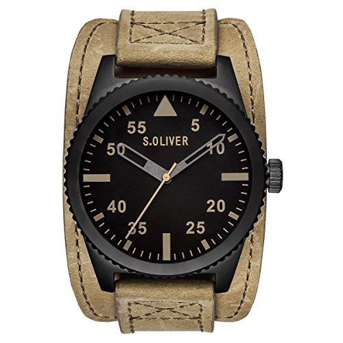 s. Oliver Men's Quartz Watch with Black Dial Analogue Display Quartz Leather–Such 15151LQR