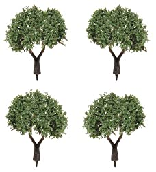 Darice 3700 16 4 Pack Powdered Fiber Diorama Tree With Flocked Leaves, 1 Inch