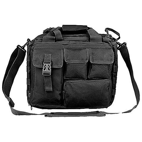 E-Bestar Herren Militär Outdoor Tactical Nylon Schulter Messenger Bag Handtaschen passt Aktentasche Laptop Tasche Fall Laptop, iPad Air, Samsung Tablet braun (Schwarz)