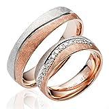2 x 585 Gold Eheringe Partnerringe Trauringe Verlobungsringe in Rotgold und Weißgold *mit Gravur und Steinen* J139S