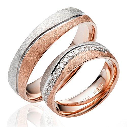 2 x 333 Gold Eheringe Partnerringe Trauringe Verlobungsringe in Rotgold und Weißgold *mit Gravur und Steinen* J139S