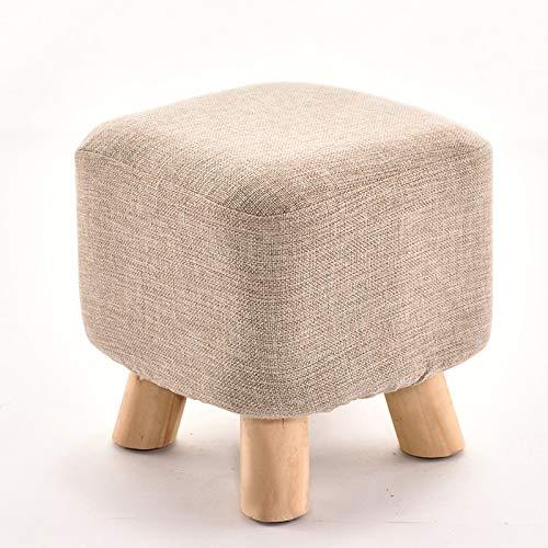 Monthyue Hocker Samt,Pouf Hocker Kinderhocker Gepolstert Rest Seat Wooden 4Legs Für Wohnzimmer Und Schlafzimmer,Beige