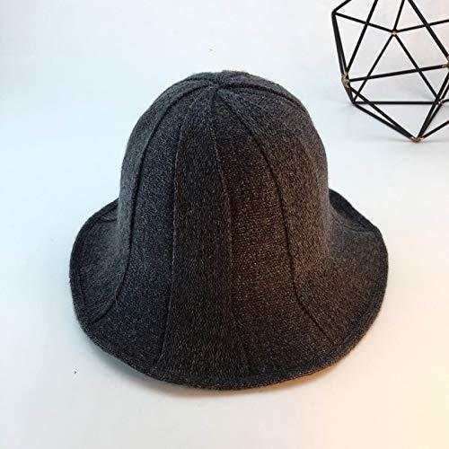 Mode Wassermelone Muster Fischer Hut Faltbare Wolle waschbecken Cap einfarbig warme Hut konkave Form dunkelgrau M (56-58 cm) -