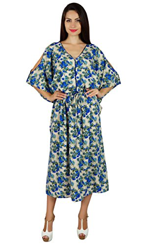 Bimba concepteur polyester caftan à cordon maxi floral plage camouflage caftan Bleu