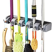 SAVICOS Mop and Broom Holder, Multipurpose Wall Mounted Heavy Duty Tool Organizer Storage Hooks,Ideal Broom Hanger for Kitchen Garden and Garage Laundry Room,5 Position with 6 Hooks