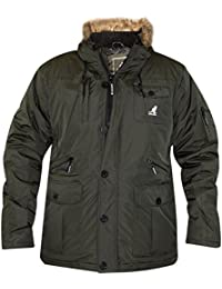 New Mens Kangol Designer Parka Jacket Synthetic Fur Trim Hood Warm Winter Coat
