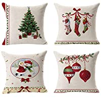 Hangood Cotton Linen Throw Pillow Case Cushion Covers Cover Set of 4pcs Christmas Tree Ball Stockings 45cm x 45cm