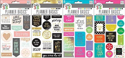 Schaffen 365die Happy Planer Aufkleber Paket mit Bright, Gold, Neon, Rose (Set von 4Artikel) (Planer Aufkleber Gold)